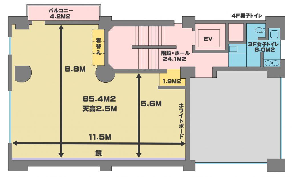 品川のレンタルスタジオ内図面、広い面積と高い天高